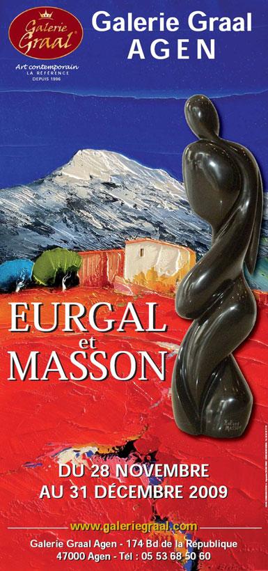 Affiche de l'exposition de peinture de Christian Eurgal et des sculptures de Roland MASSON