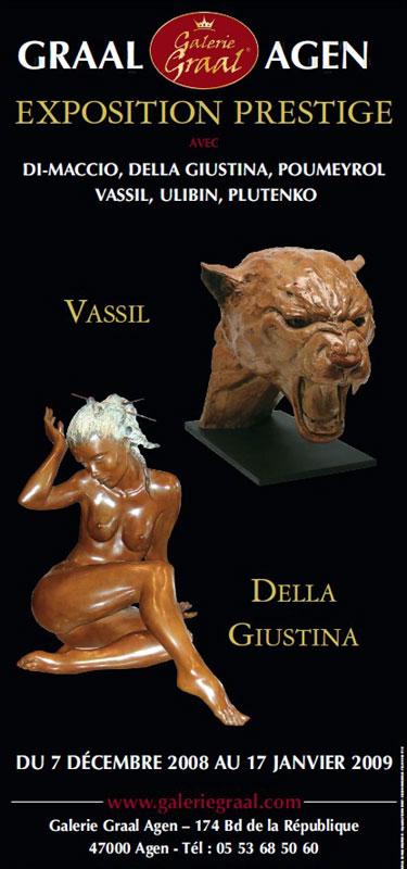 Affiche de l'exposition de sculptures de DELLA GIUSTINA et de VASSIL