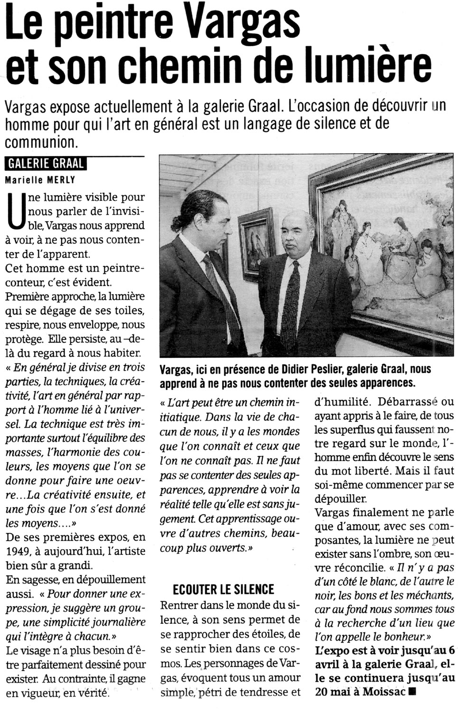 Article de presse sur Mario VARGAS lors d'une exposition à la Galerie d'art GRAAL
