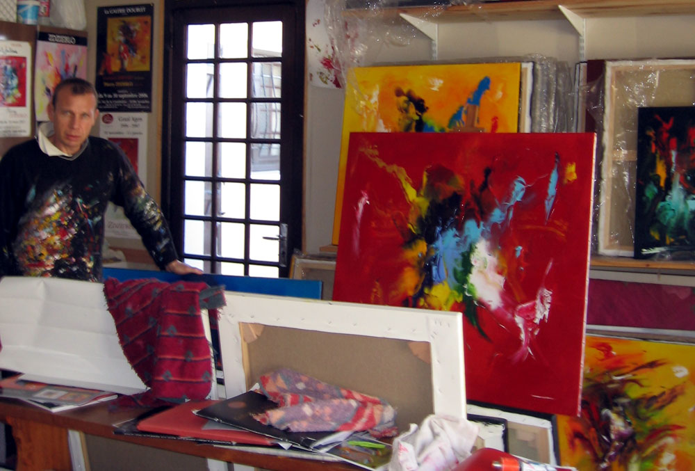 Atelier de l'artiste abstrait Thierry ZDZIEBLO