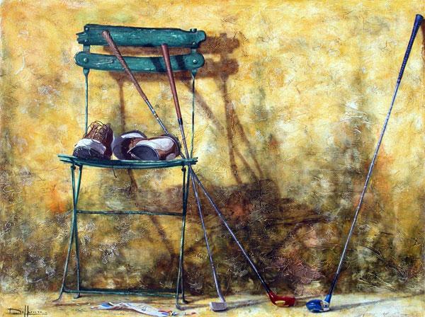 PEINTURE : BERNARD DELHEURE - RETOUR DU GOLF