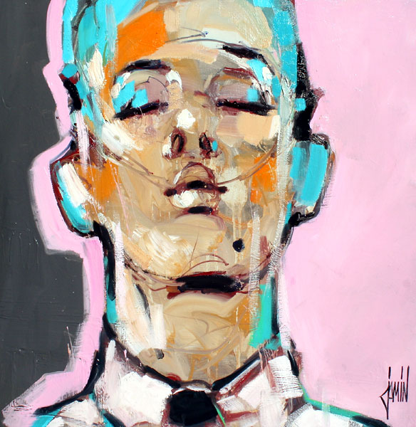 Galerie Graal - Galeries d'art contemporain - PEINTURE : DAVID JAMIN - PORTRAIT AU FOND ROSE