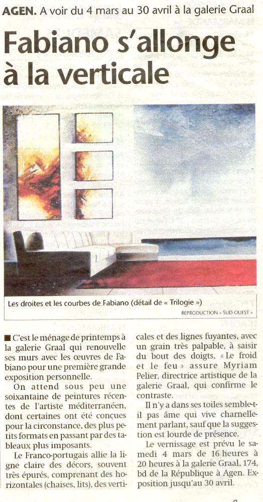 Article du quotidien le Sud-Ouest sur l'artiste Fabiano