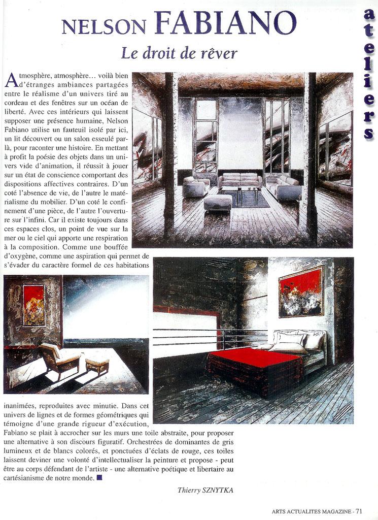Article peintre FABIANO Nelson